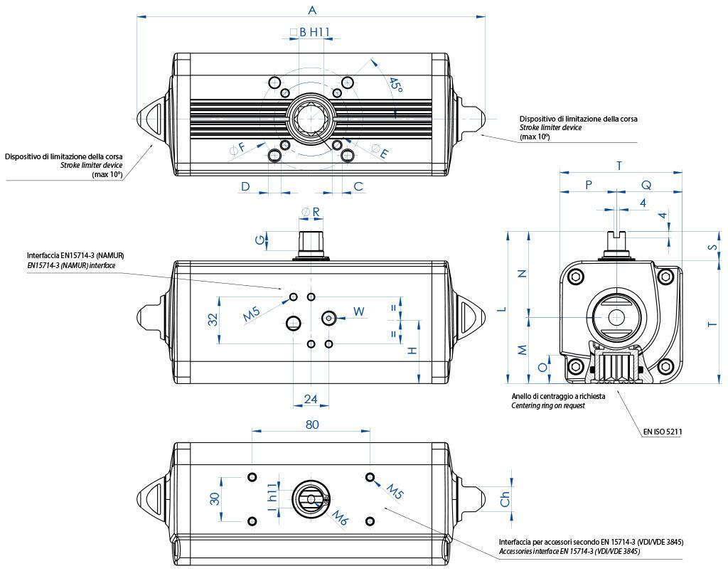 Actionneur pneumatique double effet GD en aluminium - dimensions - Actionneur double effet mesures du GD15 (Nm) au GD1920 (Nm)