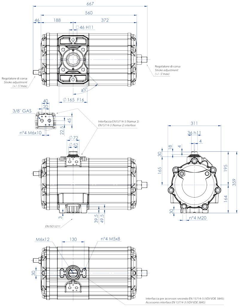 Actionneur pneumatique double effet GD en aluminium - dimensions - Actionneur pneumatique double effet mesure GD 2880 (Nm)