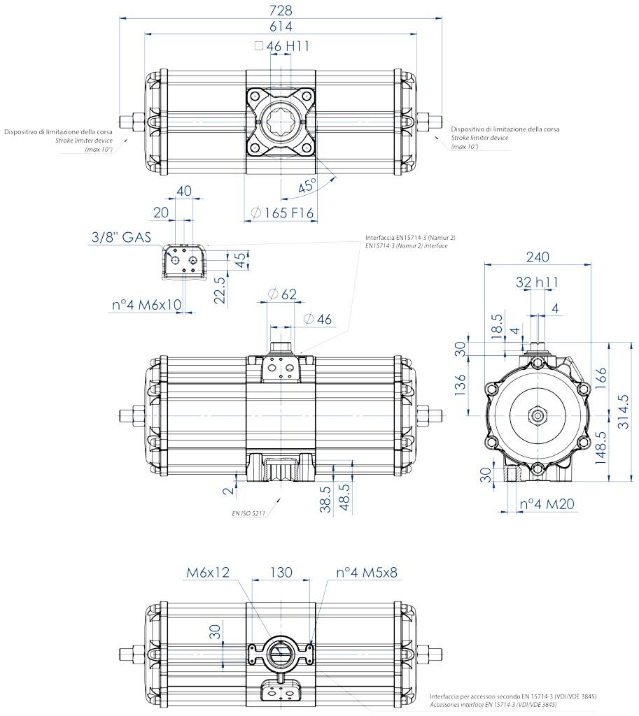 Actionneur pneumatique double effet GD en aluminium - dimensions - Actionneur pneumatique double effet mesure GD 3840 (Nm)