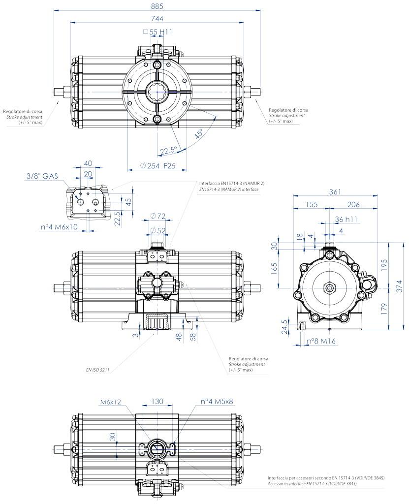 Actionneur pneumatique double effet GD en aluminium - dimensions - Actionneur pneumatique double effet mesure GD 5760 (Nm)