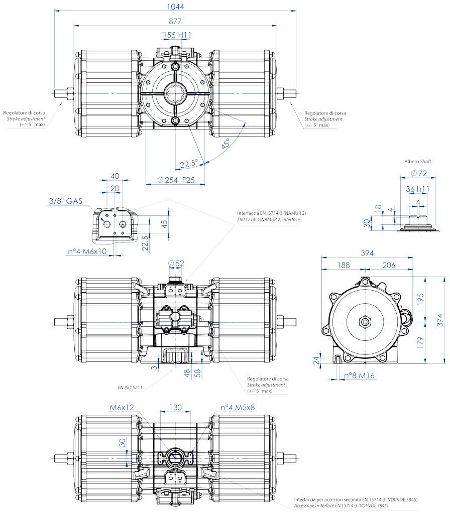 Actionneur pneumatique double effet GD en aluminium - dimensions - Actionneur pneumatique double effet mesure GD 8000 (Nm)