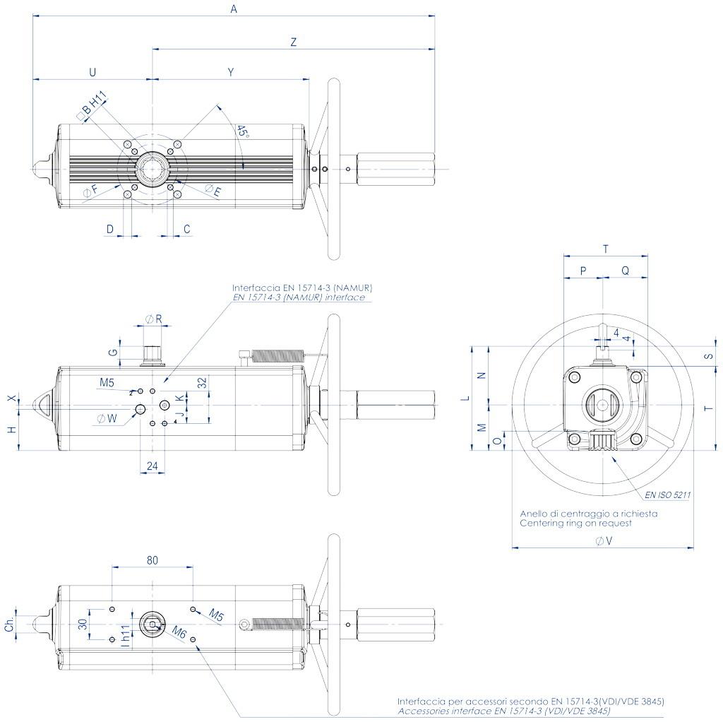 Actionneur pneumatique double effet GDV avec commande manuelle intégrée - dimensions - GDV60 ÷ GDV1920