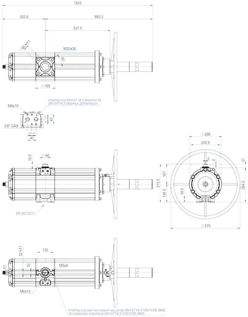 Actionneur pneumatique double effet GDV avec commande manuelle intégrée - dimensions - GDV3840