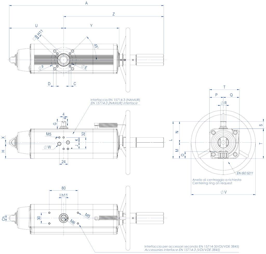 Actionneur pneumatique simple effet GSV avec commande manuelle intégrée - dimensions - GSV30 ÷ GSV960