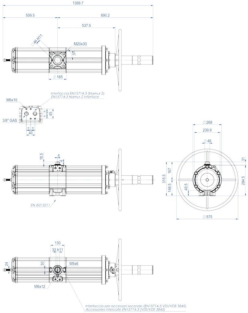 Actionneur pneumatique simple effet GSV avec commande manuelle intégrée - dimensions - GSV1920