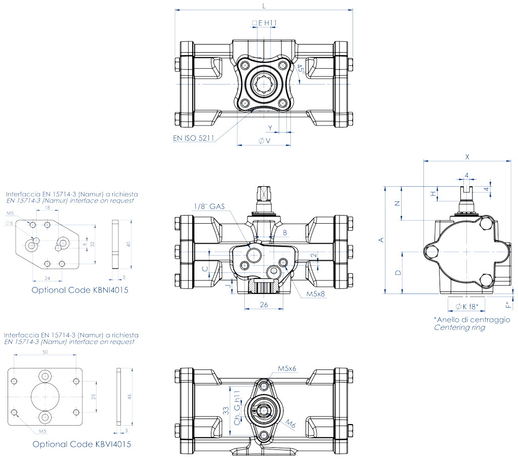 Actionneur pneumatique double effet GD inox CF8M microcoulé - dimensions - GD15 ÷ GD30