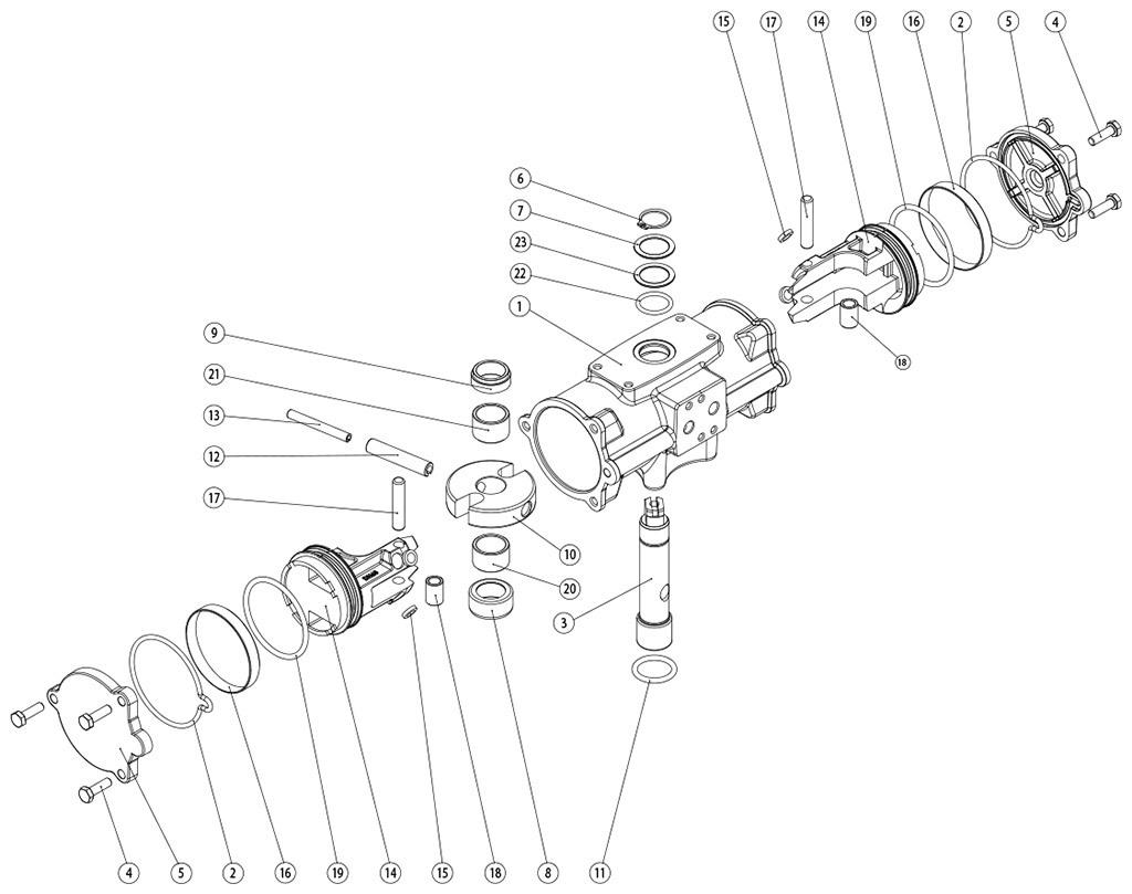 Actionneur pneumatique double effet GD inox CF8M microcoulé - matériaux - COMPOSANTS ACTIONNEUR PNEUMATIQUE DOUBLE EFFET GD CF8M COULÉES CAST MESURES: GD60-GD480