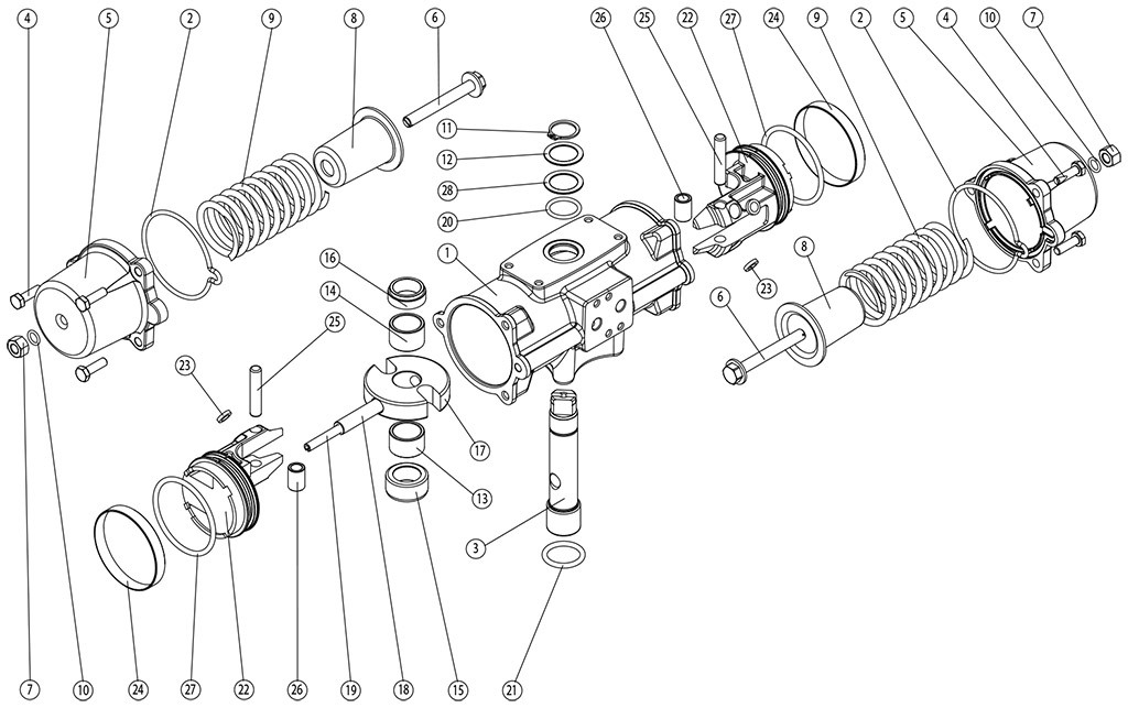 Actionneur pneumatique simple effet GS inox CF8M microcoulé - matériaux - COMPOSANTS ACTIONNEUR PNEUMATIQUE SIMPLE  EFFET