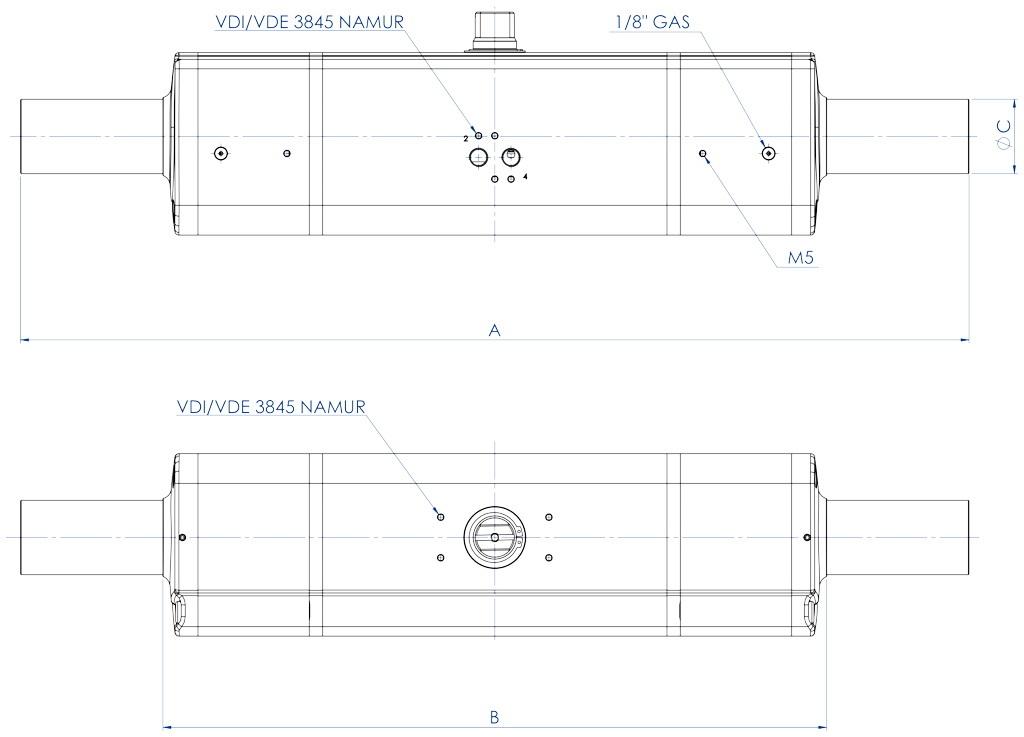 GDD Actionneur de dosage pneumatique en aluminium - dimensions -