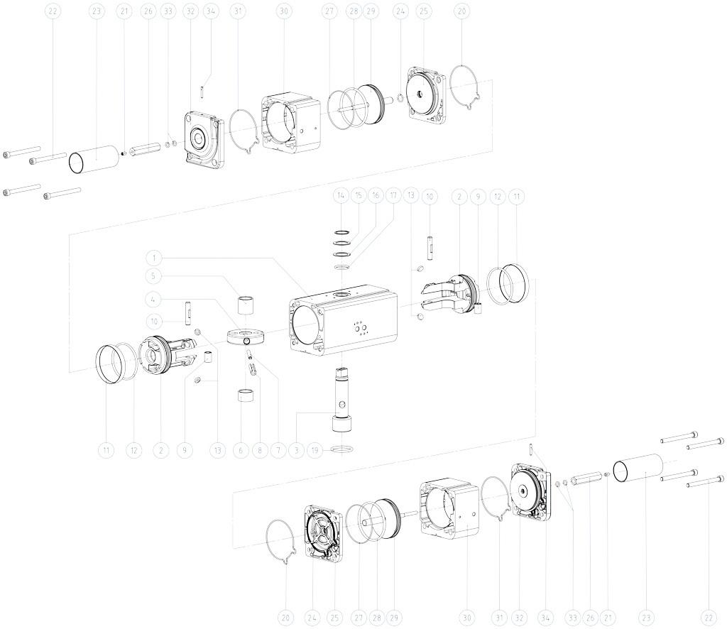 GDD Actionneur de dosage pneumatique en aluminium - matériaux - COMPOSANTS ACTIONNEUR PNEUMATIQUE DOSEUR MESURES: GDD30 - GDD480