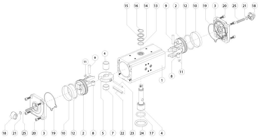 Actionneur pneumatique double effet GD en aluminium - matériaux - COMPOSANTS ACTIONNEUR PNEUMATIQUE DOUBLE EFFET MESURE: GD15-GD1920