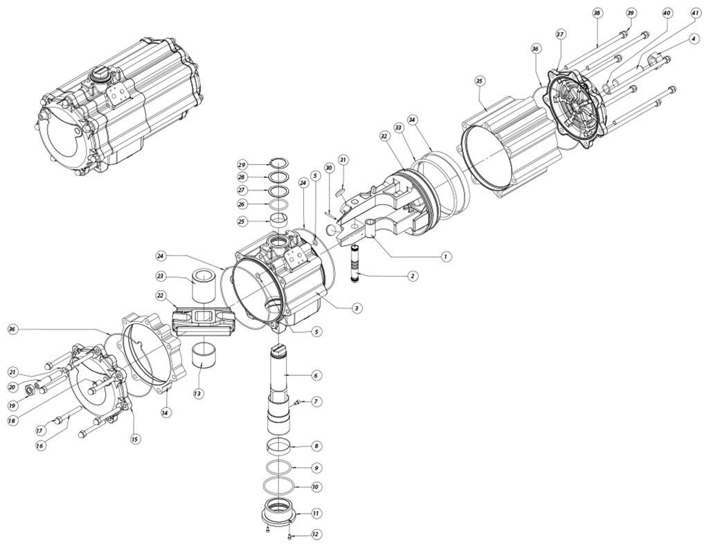 Actionneur pneumatique double effet GD en aluminium - matériaux - COMPOSANTS ACTIONNEUR PNEUMATIQUE DOUBLE EFFET MESURE: GD2880