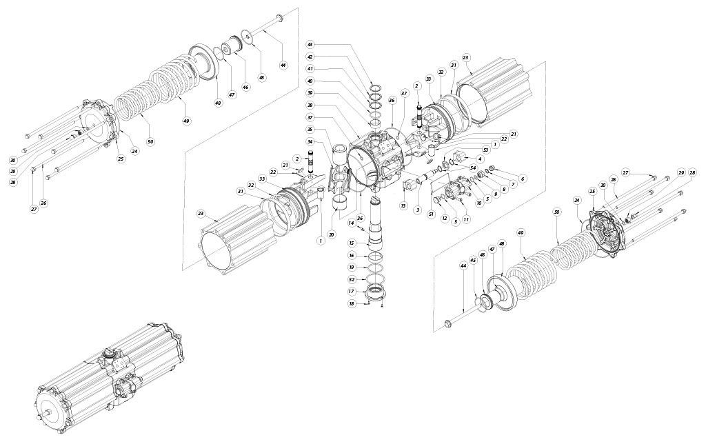 Actionneur pneumatique simple effet GS en aluminium - matériaux - COMPOSANTS ACTIONNEUR PNEUMATIQUE SIMPLE EFFET MESURE: GS2880
