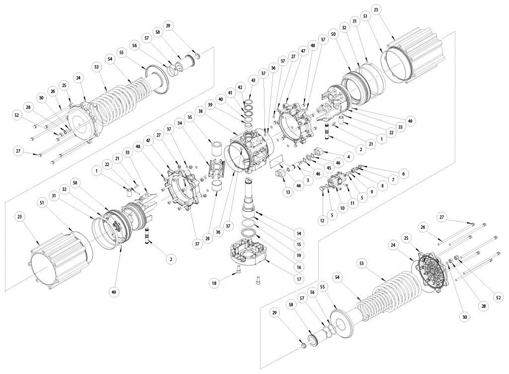 Actionneur pneumatique simple effet GS en aluminium - matériaux - COMPOSANTS ACTIONNEUR PNEUMATIQUE SIMPLE EFFET MESURE: GS4000