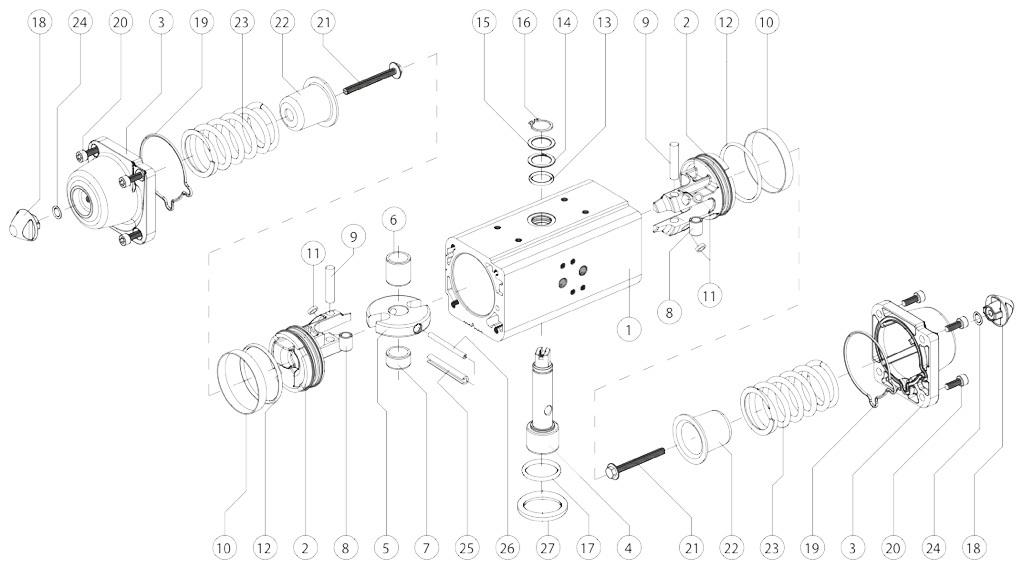 Actionneur pneumatique simple effet GS en aluminium - matériaux - COMPOSANTS ACTIONNEUR PNEUMATIQUE SIMPLE EFFET MESURE: GS15-GS960
