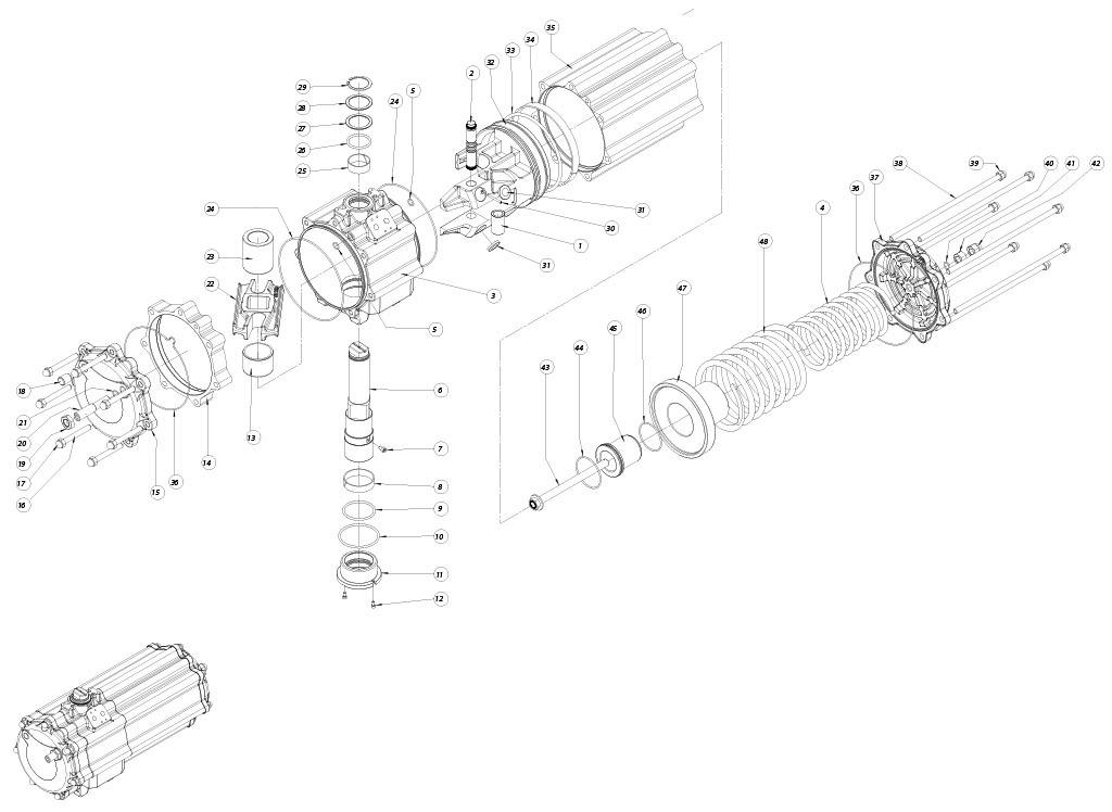 Actionneur pneumatique simple effet GS en aluminium - matériaux - COMPOSANTS ACTIONNEUR PNEUMATIQUE SIMPLE EFFET MESURE: GS1440