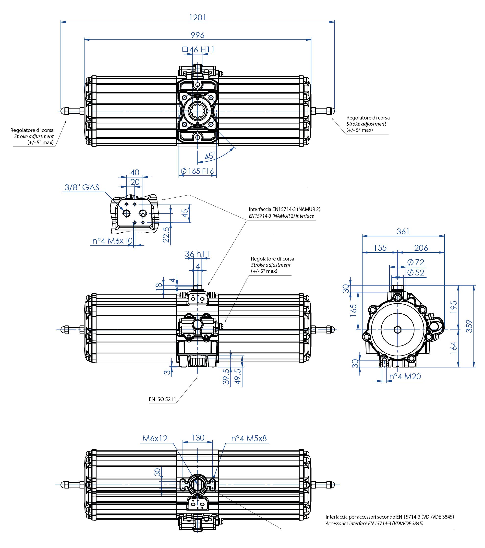 Actionneur pneumatique simple effet GS en aluminium - dimensions - Actionneur pneumatique simple effet mesure GS 2880 (Nm)