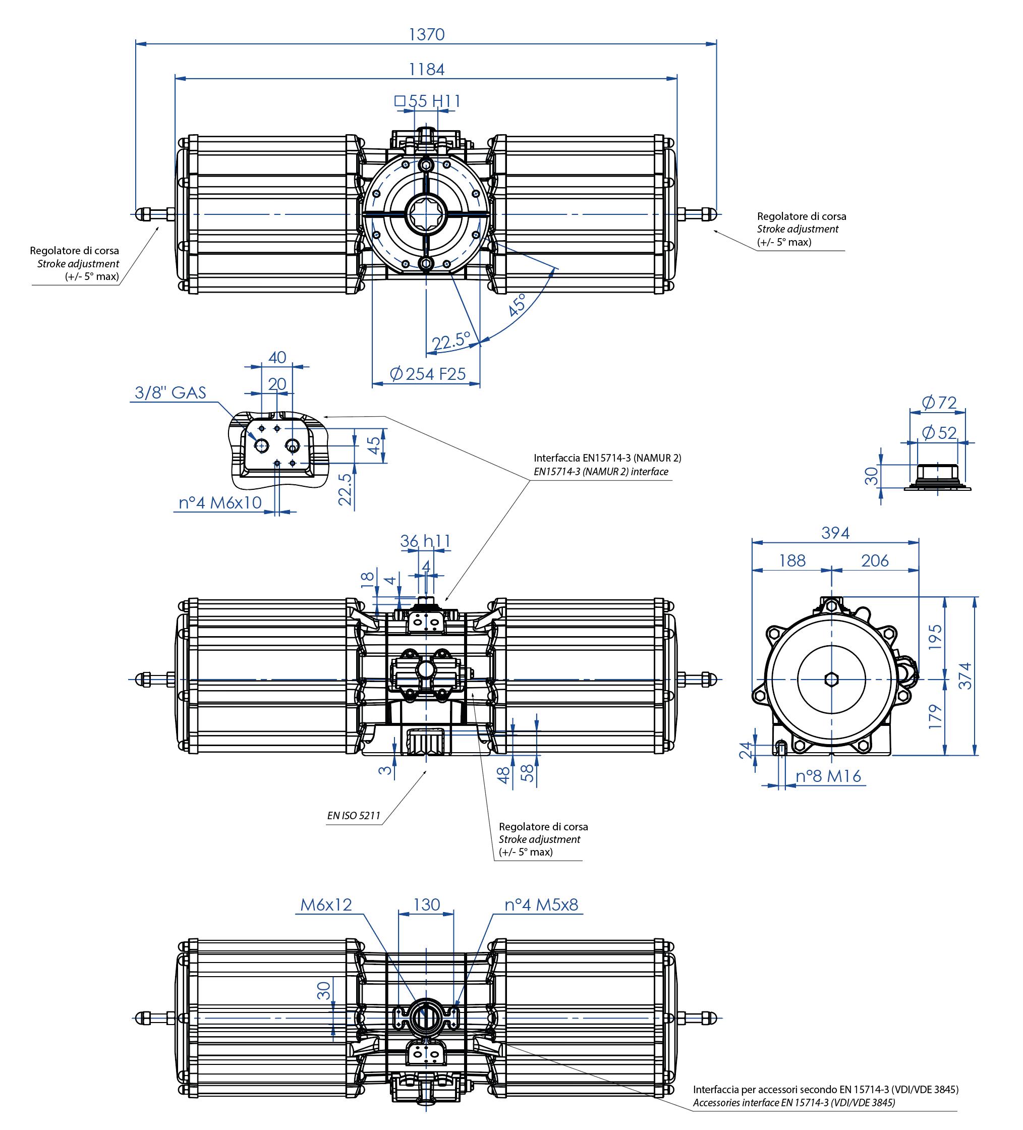 Actionneur pneumatique simple effet GS en aluminium - dimensions - Actionneur pneumatique simple effet mesure GS 4000 (Nm)