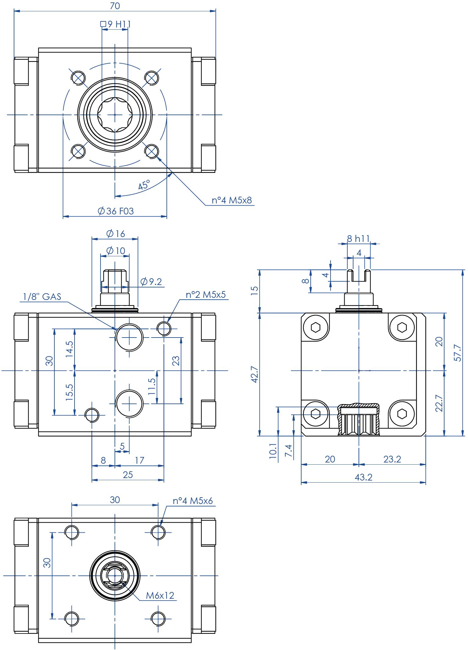 Actionneur pneumatique double effet GD en aluminium - dimensions - Actionneur double effet mesure GD08 (Nm)