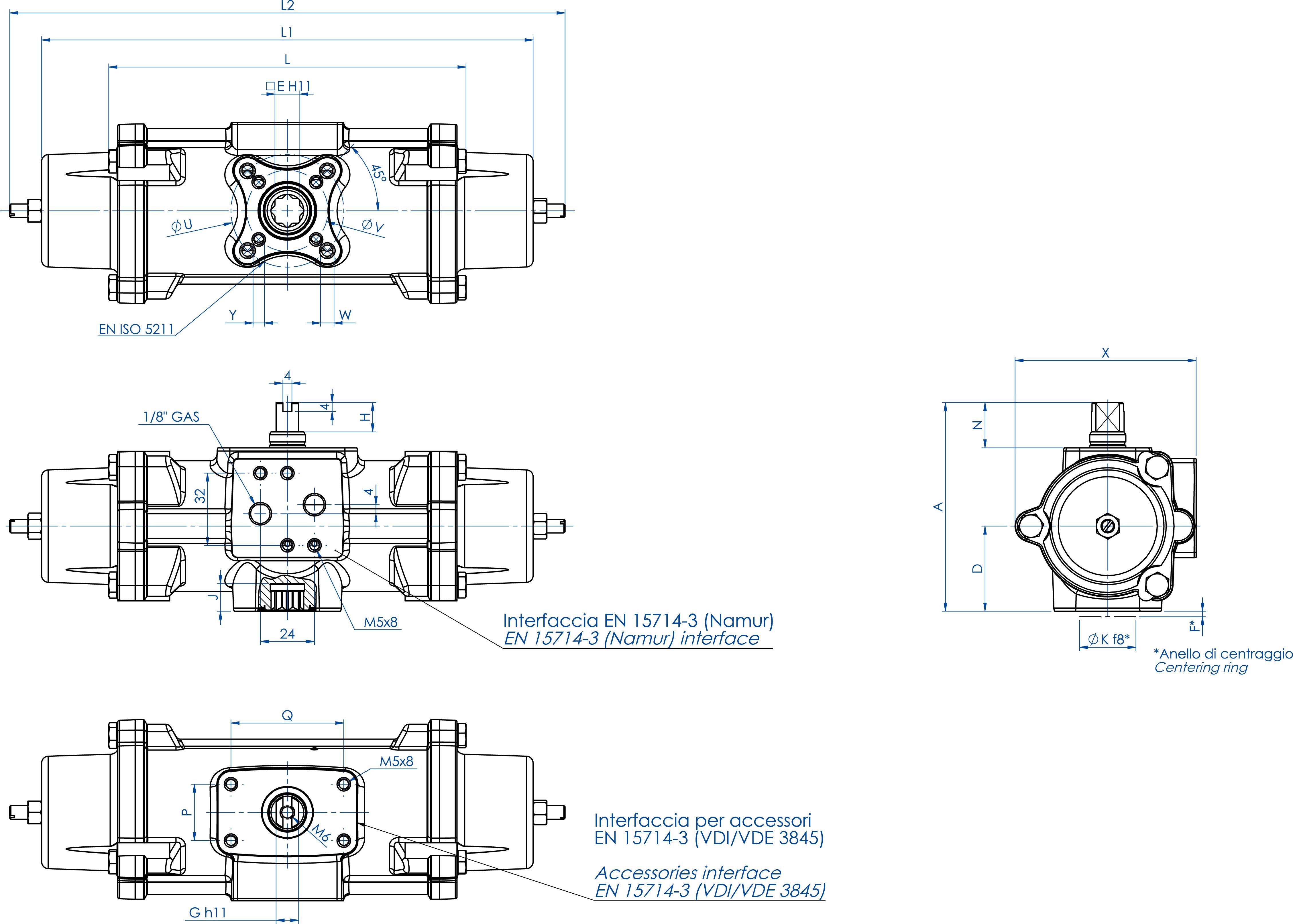 Actionneur pneumatique simple effet GS inox CF8M microcoulé - dimensions - GS30 ÷ GS240