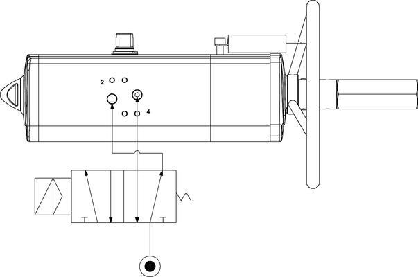 Actionneur pneumatique double effet GDV avec commande manuelle intégrée - spécifications -