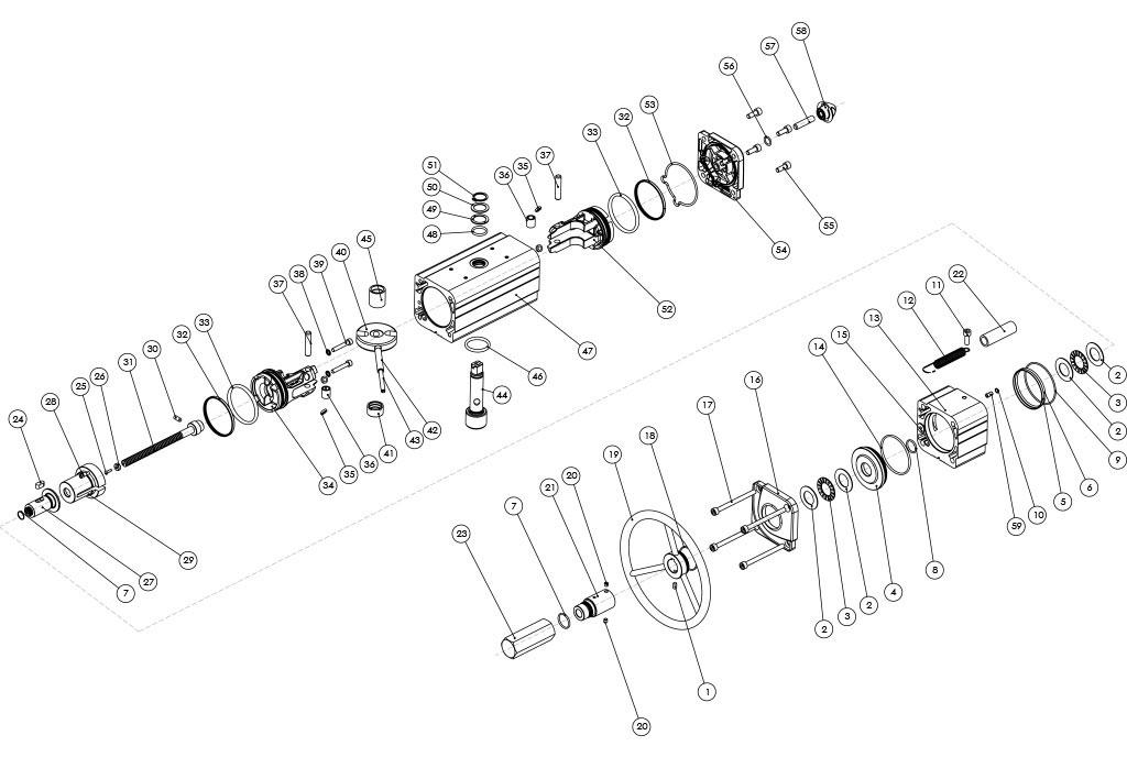 Actionneur pneumatique double effet GDV avec commande manuelle intégrée - matériaux - COMPOSANTS ACTIONNEUR PNEUMATIQUE À DOUBLE EFFET AVEC COMMANDE MANUELLE INTÉGRÉE - MESURE: JUSQU'À GDV1920