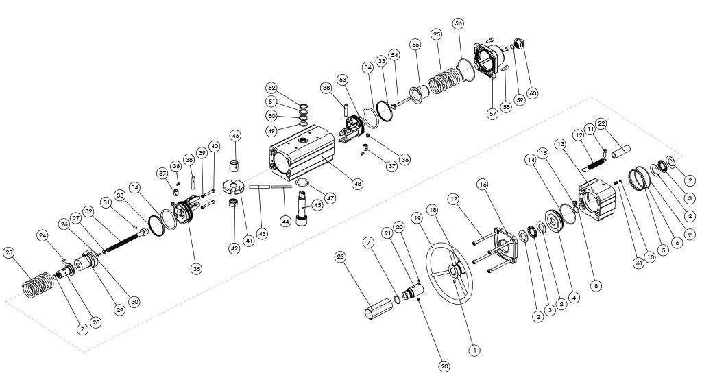 Actionneur pneumatique simple effet GSV avec commande manuelle intégrée - matériaux - COMPOSANTS ACTIONNEUR PNEUMATIQUE SIMPLE EFFET À COMMANDE MANUELLE INTÉGRÉE - MESURES: JUSQU'À GSV960