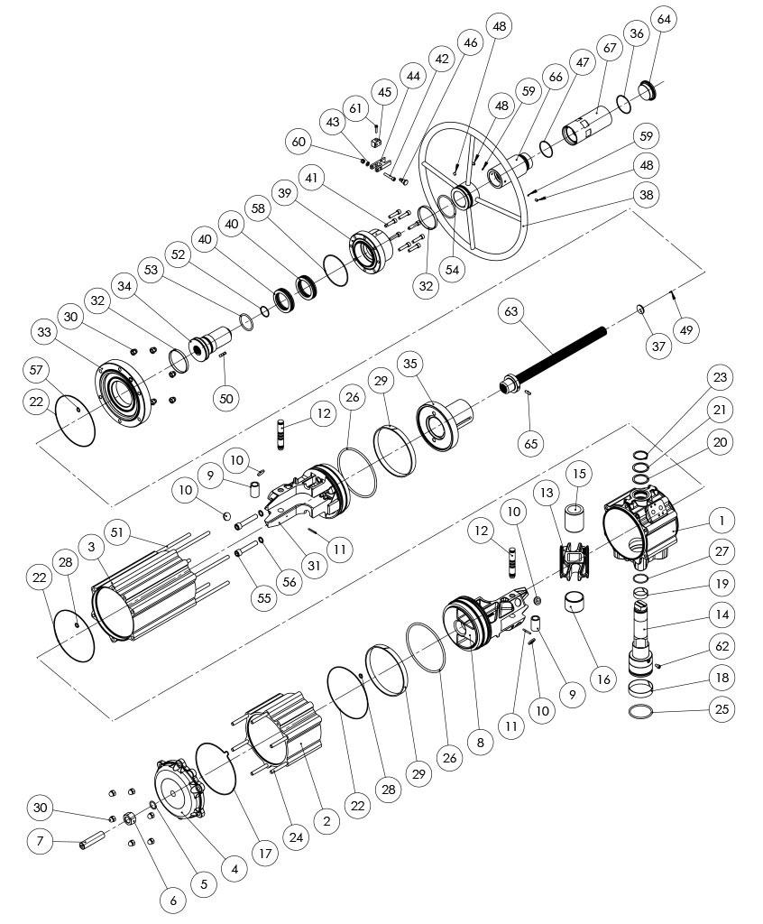 Actionneur pneumatique double effet GDV avec commande manuelle intégrée - matériaux - COMPOSANTS ACTIONNEUR PNEUMATIQUE À DOUBLE EFFET AVEC COMMANDE MANUELLE INTÉGRÉE - MESURE: GDV3840