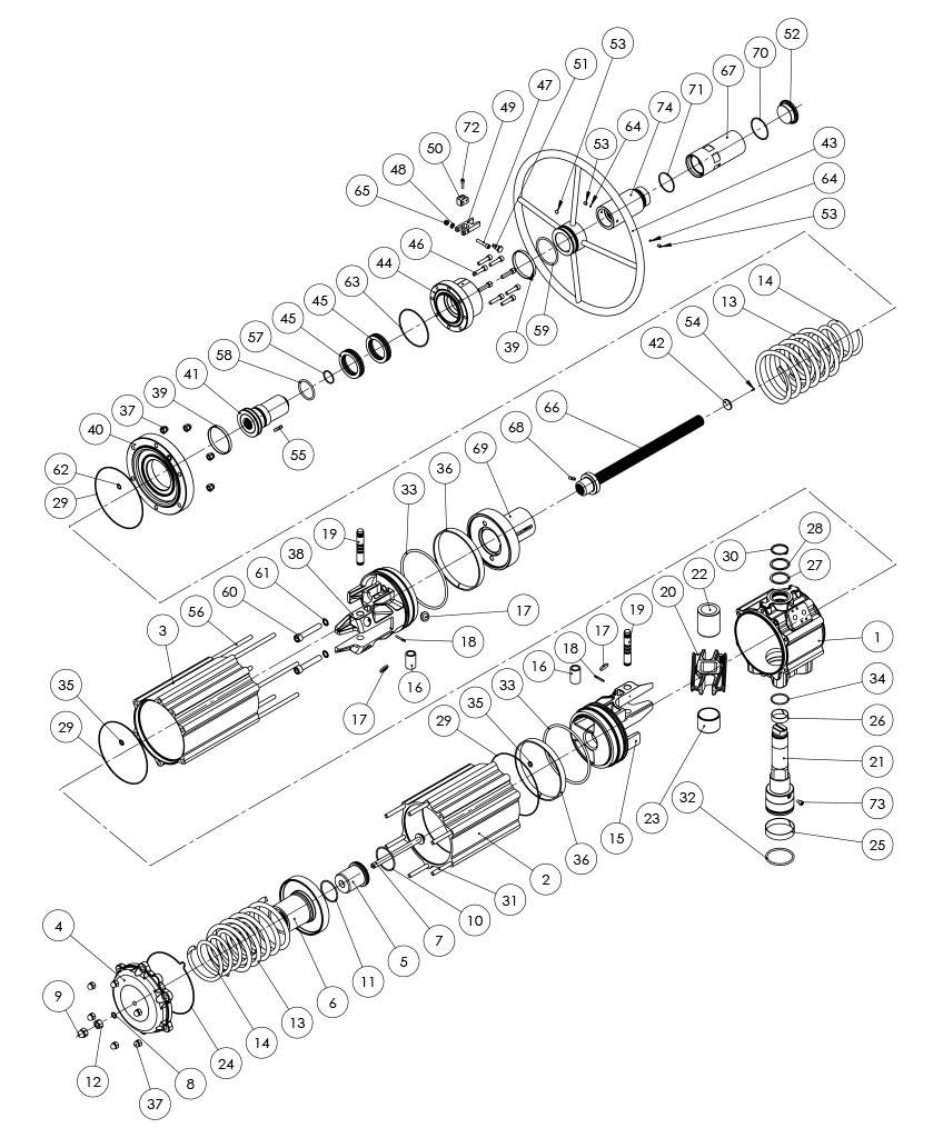 Actionneur pneumatique simple effet GSV avec commande manuelle intégrée - matériaux - COMPOSANTS ACTIONNEUR PNEUMATIQUE SIMPLE EFFET AVEC COMMANDE MANUELLE INTÉGRÉE - MESURE: GSV1920