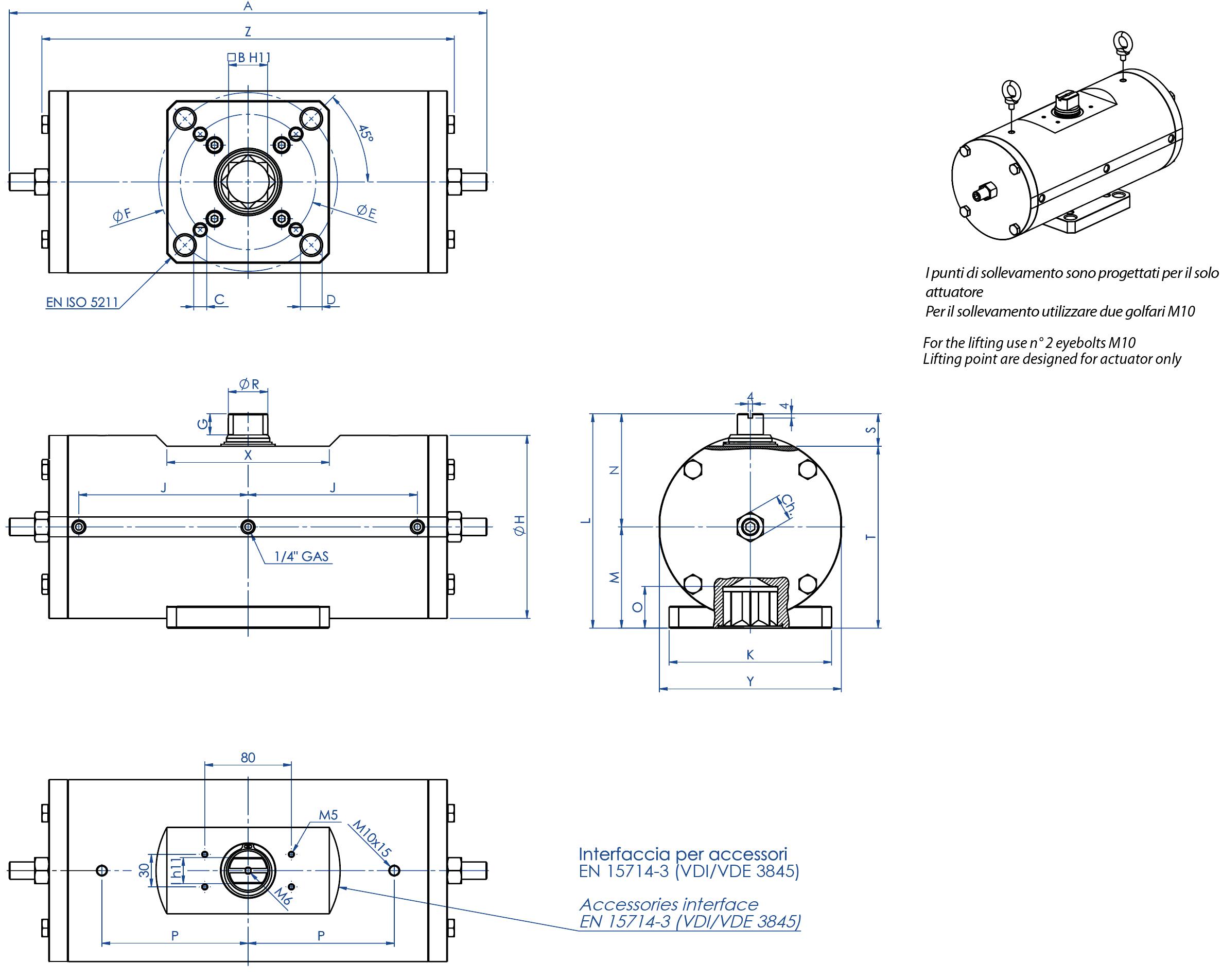 Actionneur pneumatique double effet GD inox 316 de barre - dimensions -