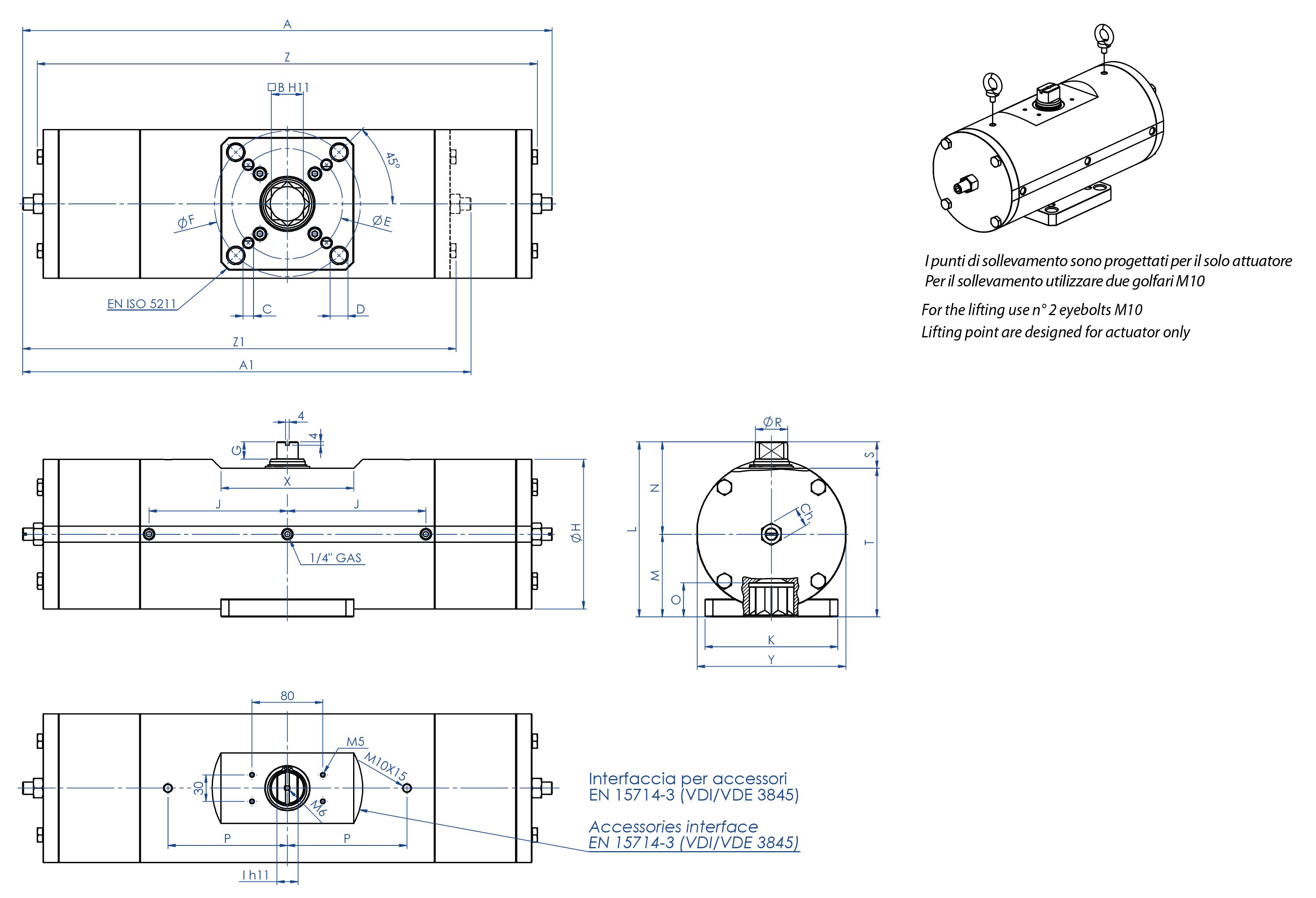 Actionneur pneumatique simple effet GS inox 316 de barre continue - dimensions -