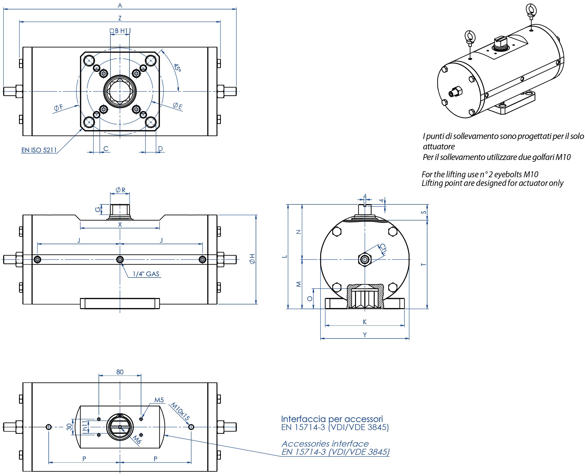 Actionneur pneumatique double effet GD acier au carbone A105 - dimensions -