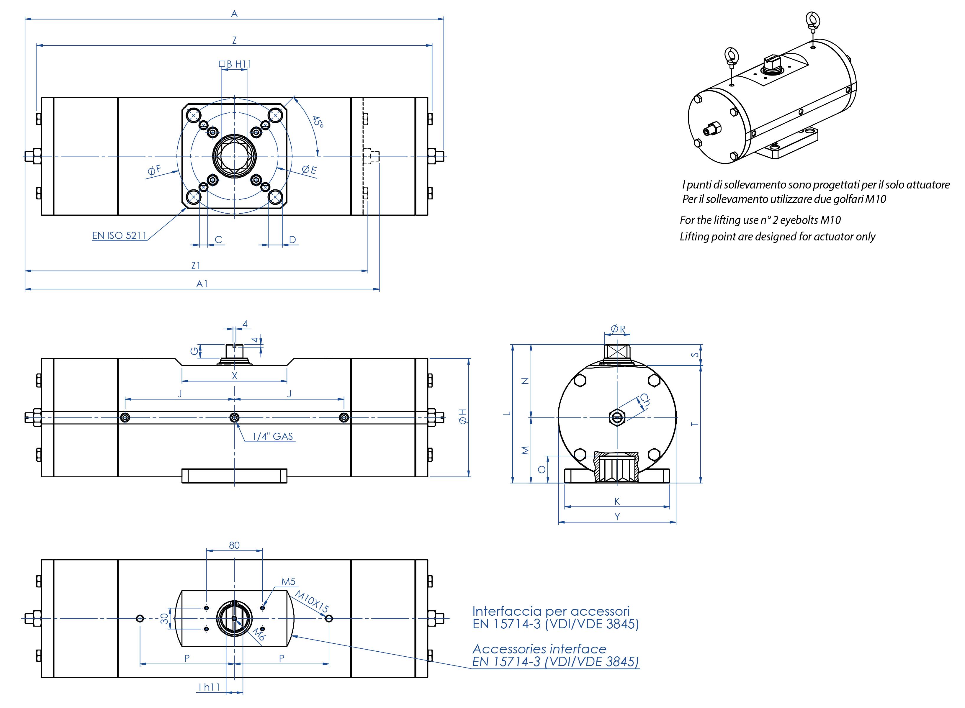 Actionneur pneumatique simple effet GS acier au carbone A105 - dimensions -