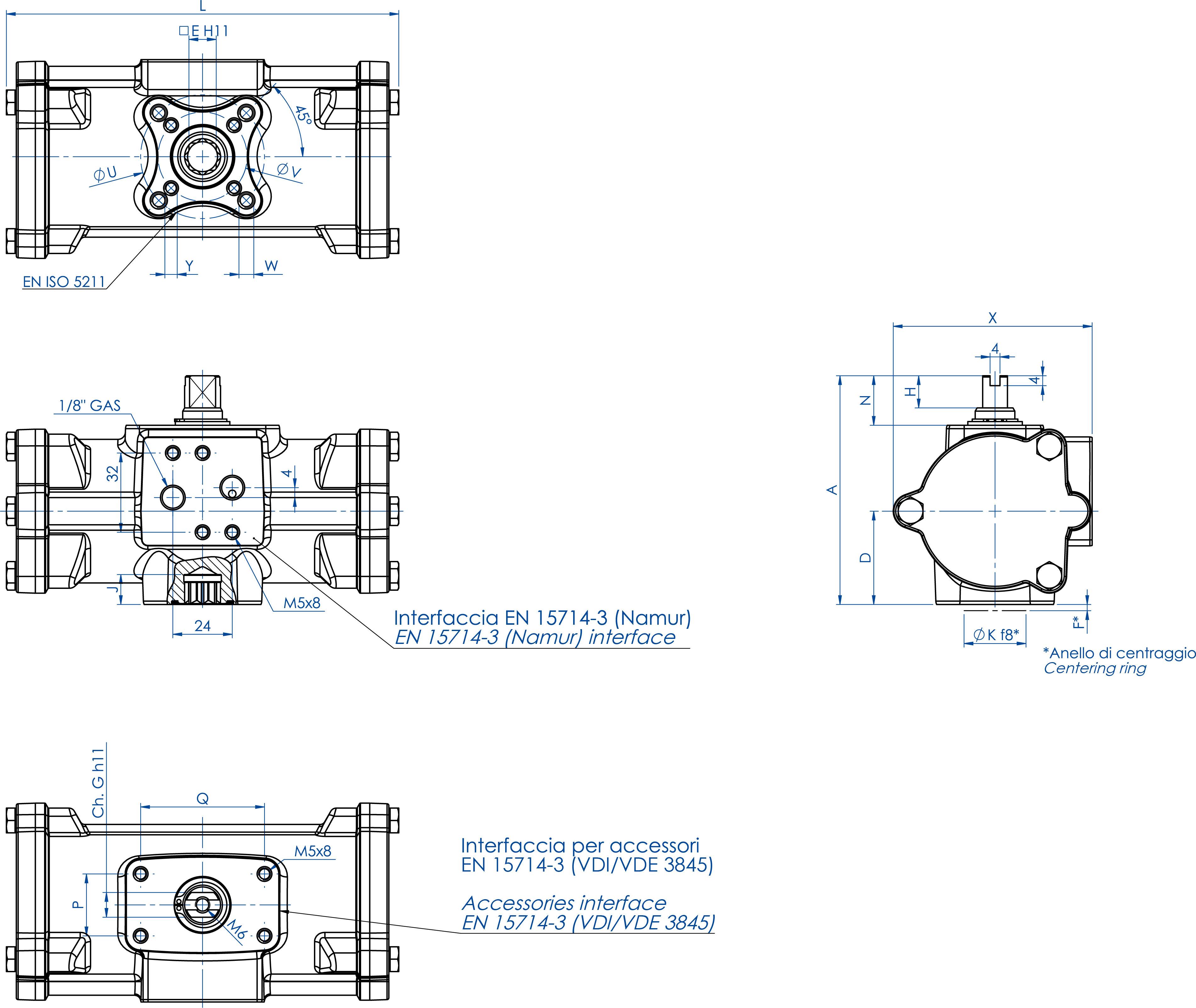 Actionneur pneumatique double effet GD inox CF8M microcoulé - dimensions - GD60 ÷ GD480